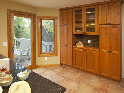 Built in, hutch, cherry, cabinets, buffet