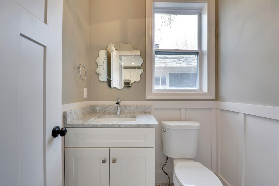 cabinets, vanity, white, painted